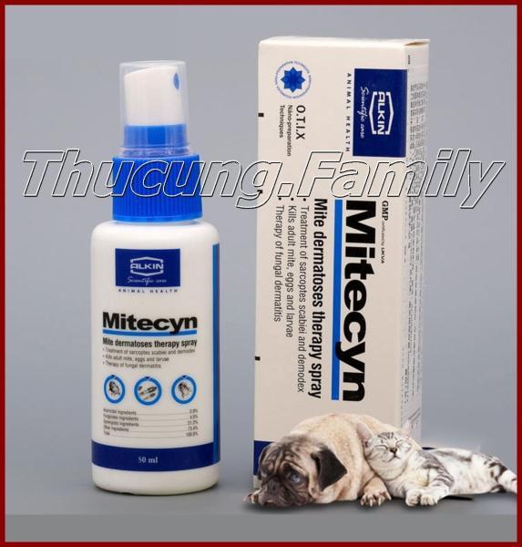Thuốc xịt trị ghẻ, nấm, viêm da Mitecyn 50ml cho chó mèo. Nhập khẩu Anh Quốc.