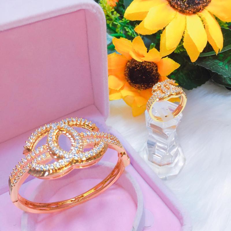 Bộ Trang Sức 2 Món Nữ Vàng Gadoshop VB4110802 - đeo đi tiệc đi cưới cực sang chảnh và quý phái