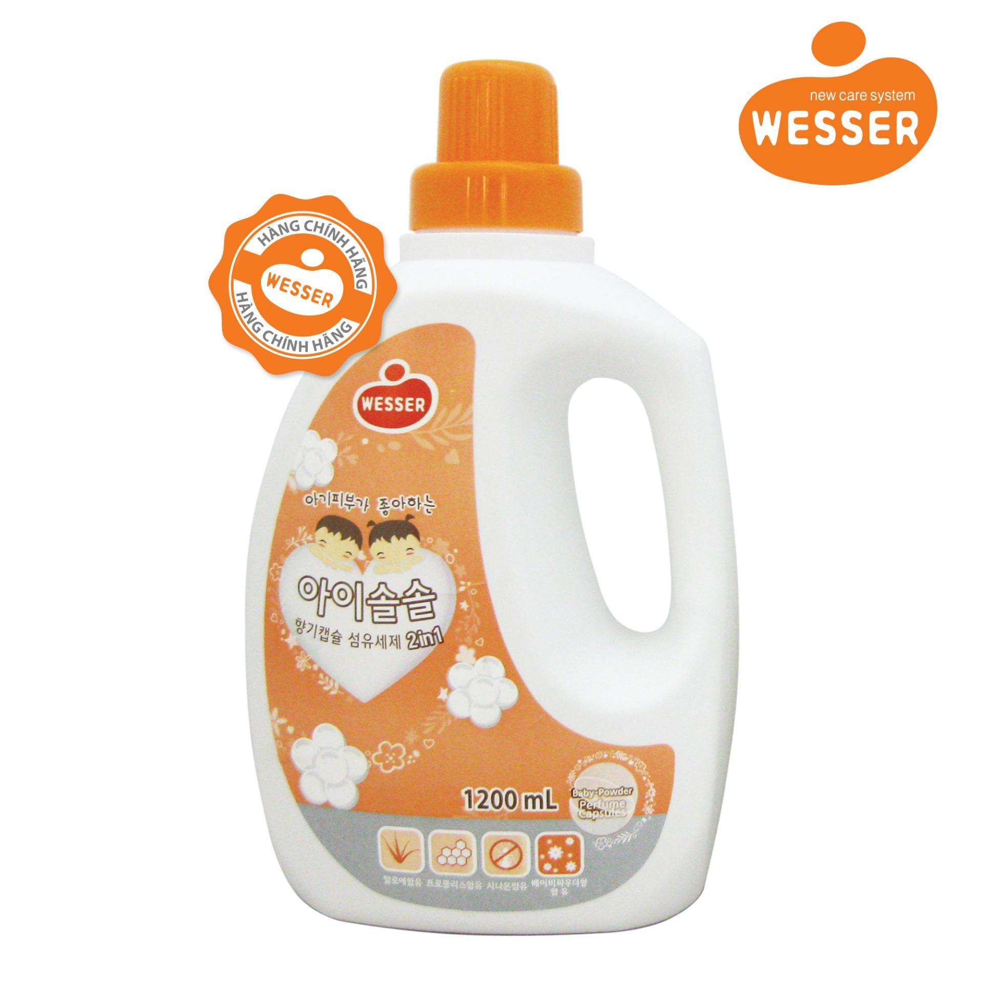 Nước giặt xả Wesser 2in1 hương phấn 1200ml (Màu cam,Hàng nhập khẩu)