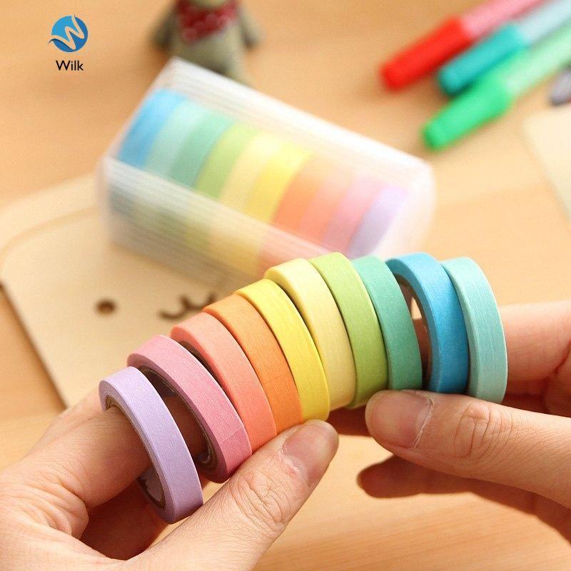 Mua 10 Pcs/Set Rainbow Solid Color Masking Washi Sticky Paper Tape Adhesive Scrapbooking Deco Masking Washi Tape