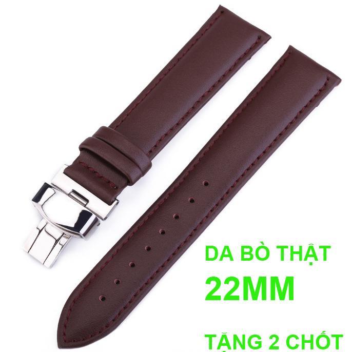 Nơi bán Dây đồng hồ da bò cao cấp OL-801 size 22mm ( Da bò Nâu) kèm khóa bướm thép không gỉ 316L (Trắng)