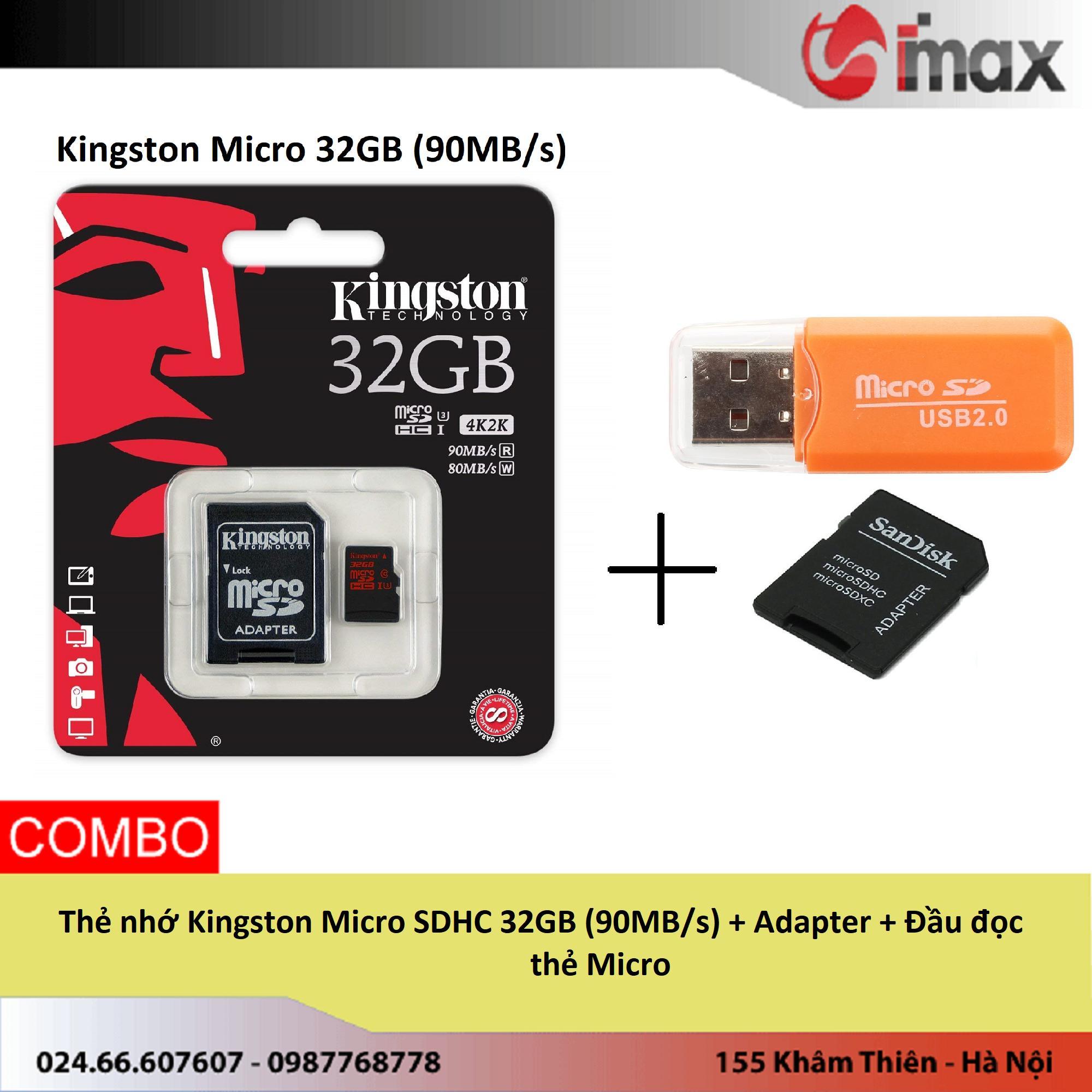 Thẻ nhớ Kingston Micro SDHC 32GB (90MB/s) + Adapter + Đầu đọc thẻ Micro