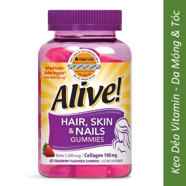 Thực Phẩm Chức Năng Kẹo Dẻo Vitamin Da Tóc & Móng Alive Hair Skin & Nail Gummy, 60 Viên giá rẻ