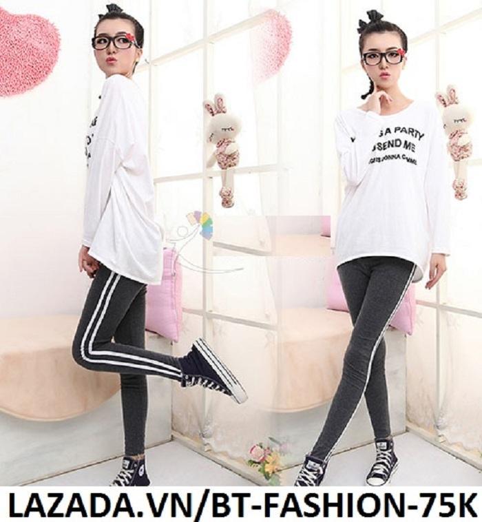 Quần Dài Nữ Thun Ôm Legging Thể Thao Thời Trang Hàn Quốc - BT Fashion (QTT02A-2 SỌC)