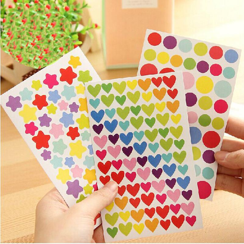 Mua 6sheets Colorful Dot Love Heart Stars Shape Funny Scrapbooking Diary Decorations Escolar Sticky Notes Memo Pad Kawaii Stickers - intl