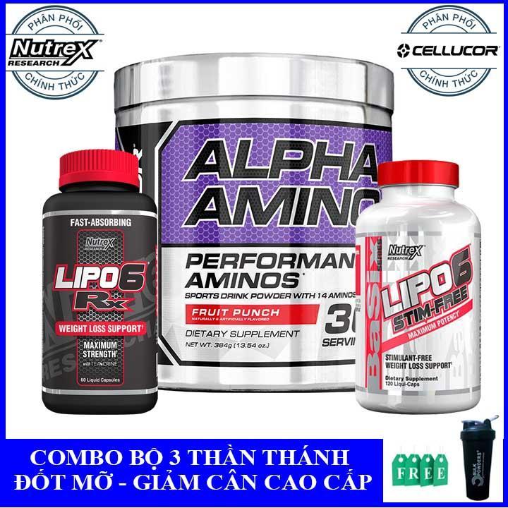 [Tặng bình lắc] Combo thực phẩm bổ sung đốt mỡ giảm cân BCAA Alpha Amino, Lipo 6 RX, Lipo 6 Stim Free - Phân phối chính thức chính hãng