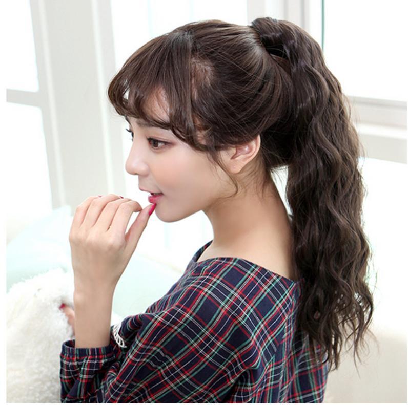 Tóc giả nữ cột xoăn đũa đuôi gà Hàn Quốc cao cấp - TG30 ( dài 50cm - MÀU NÂU ĐẬM )