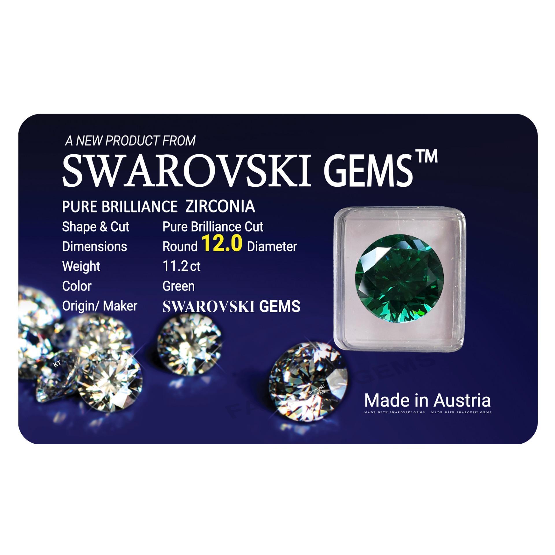 Kim Cương Nhân Tạo Swarovski 12.0mm Green (Màu Xanh Lá)