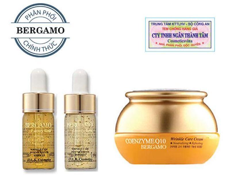 Combo kem dưỡng trắng da và chống nhăn Q10 & Set tinh chất trị mụn- tái tạo da Bergamo Luxury Gold Collagen And Caviar 13ml/chai x 2 chai(HÀNG CHÍNH HÃNG)