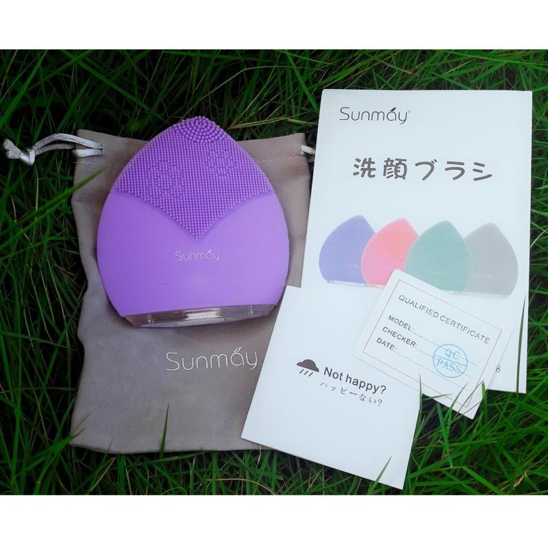 Máy rửa mặt Sunmay 2018, chế độ nhắc 20s chuyển vùng da, sóng âm sonic, bảo hành 12 tháng, màu tím cao cấp