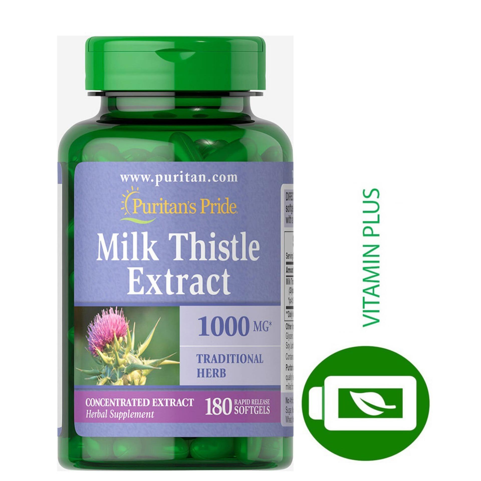 Viên uống bổ gan, làm mát gan, giải độc gan, phòng chống viêm gan, xơ gan, Vitamin Mỹ Puritans Pride Milk Thistle Extract 1000mg 180 viên hàng chính hãng