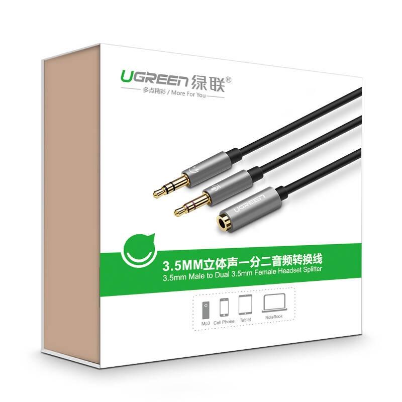 Dây Audio chuyển tai nghe 3.5mm đầu cái sang 2 đầu Mic và Tai nghe đầu đực mạ vàng dài 20CM UGREEN AV140