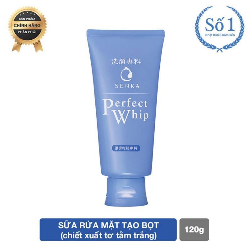 Sữa rửa mặt tạo bọt chiết xuất tơ tằm trắng Senka Perfect Whip 120g nhập khẩu