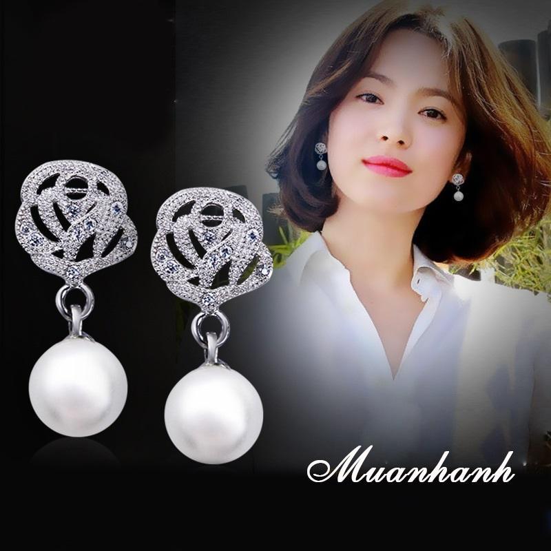 Bông tai nữ hoa hồng ngọc trai bạc 925 dịu dàng nữ tính phong cách Hàn Quốc