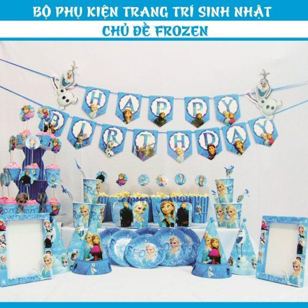Hình ảnh set trang trí sinh nhật đầy đủ ( chủ đề công chúa elsa miniset)