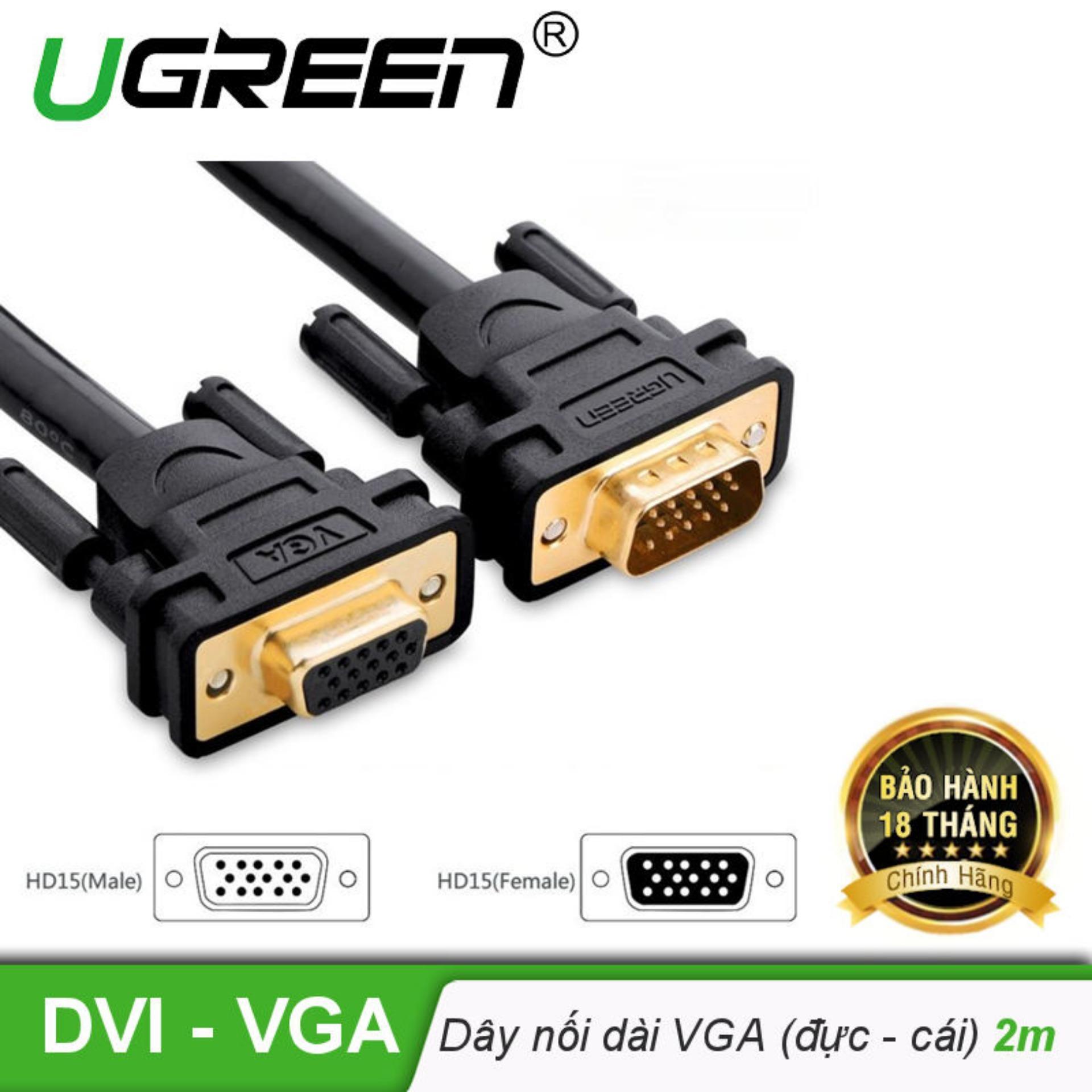 Bảng giá Dây nối dài VGA đực sang cái 3+6 OD8.0MM dài 2m UGREEN VG103 11614 - Hãng phân phối chính thức Phong Vũ