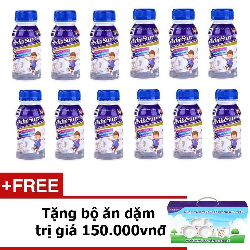 Bộ 12 chai sữa nước Pediasure Vanilla + Tặng bộ ăn dặm trị giá 150,000vnđ