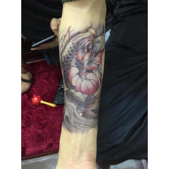 Hình ảnh Hình xăm dán cá chép màu 318( tặng mini tattoo 10x6cm)