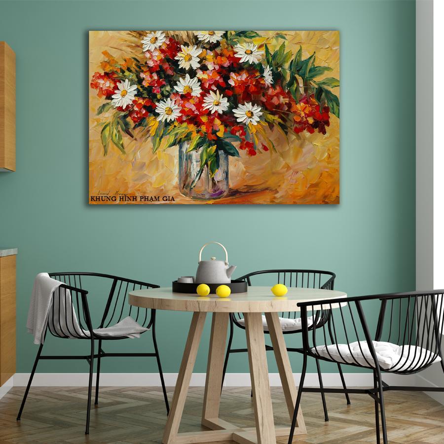 Tranh canvas hoa vàng phong cách vẽ sơn dầu nghệ thuật - Khung Hình Phạm Gia PGTK109