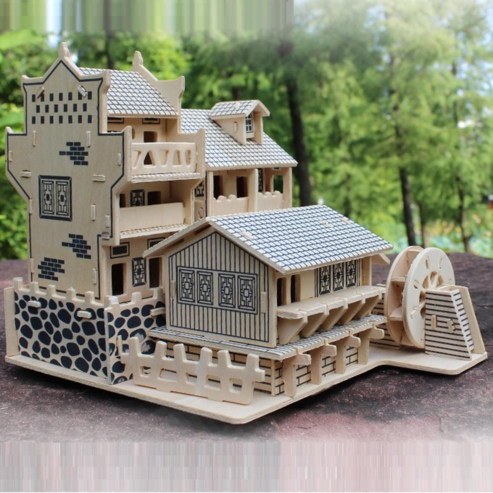 Hình ảnh Đồ chơi lắp ráp gỗ 3D Mô hình Nhà cổ 01