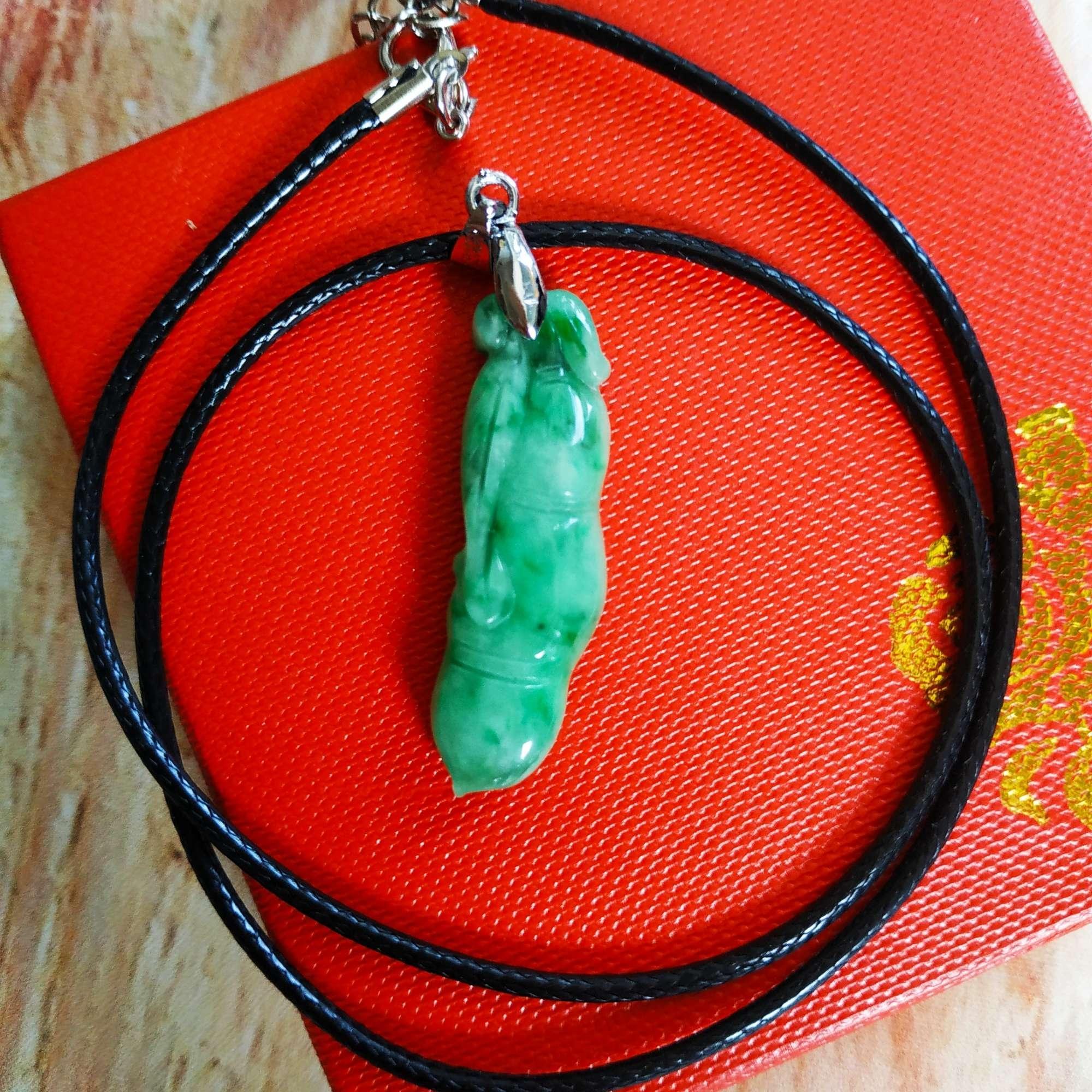 Dây chuyền trái đậu ngọc phỉ thúy Jadeit xanh ngọc - PT8888