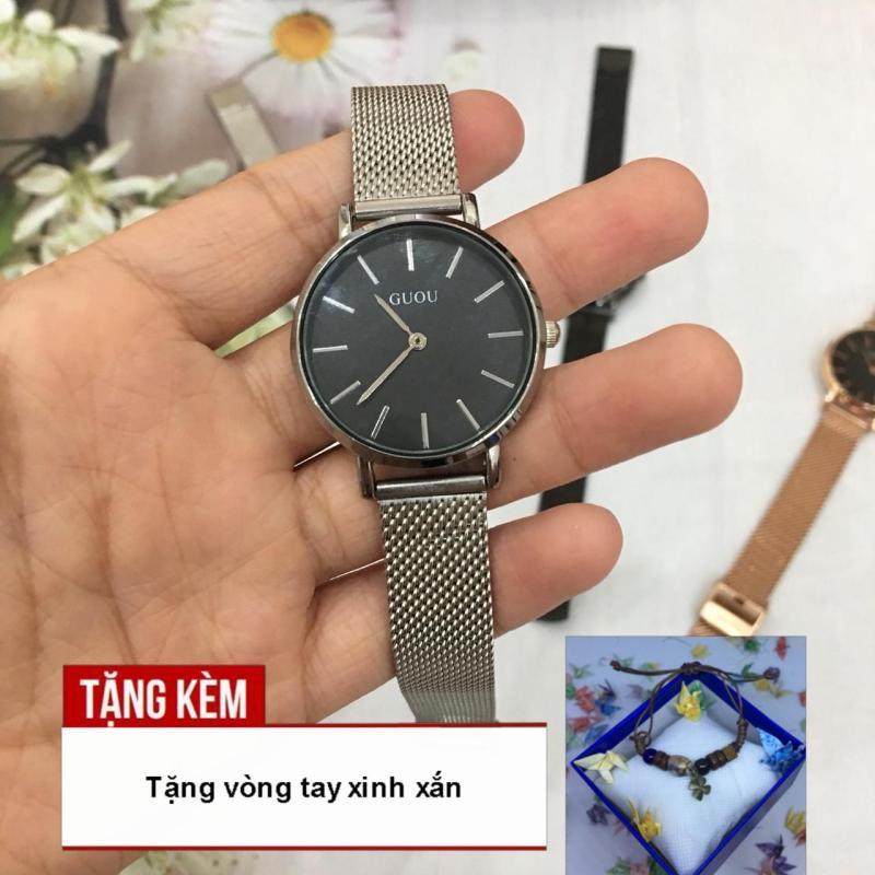 Nơi bán [ĐẸP THẾ NHỈ] Với chất liệu dây thép lụa cùng 2 kim chạy - đồng hồ GUOU luôn là sự lựa chọn hoàn hảo cho phái nữ OĐ43-JO6-TẶNG KÈM VÒNG TAY
