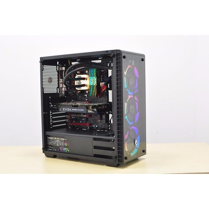 Hình ảnh Vỏ máy tính Vitra Nefertiti G8 E-ATX 3 mặt kính Temper Glass + Kèm 3 Fan Ring RGB