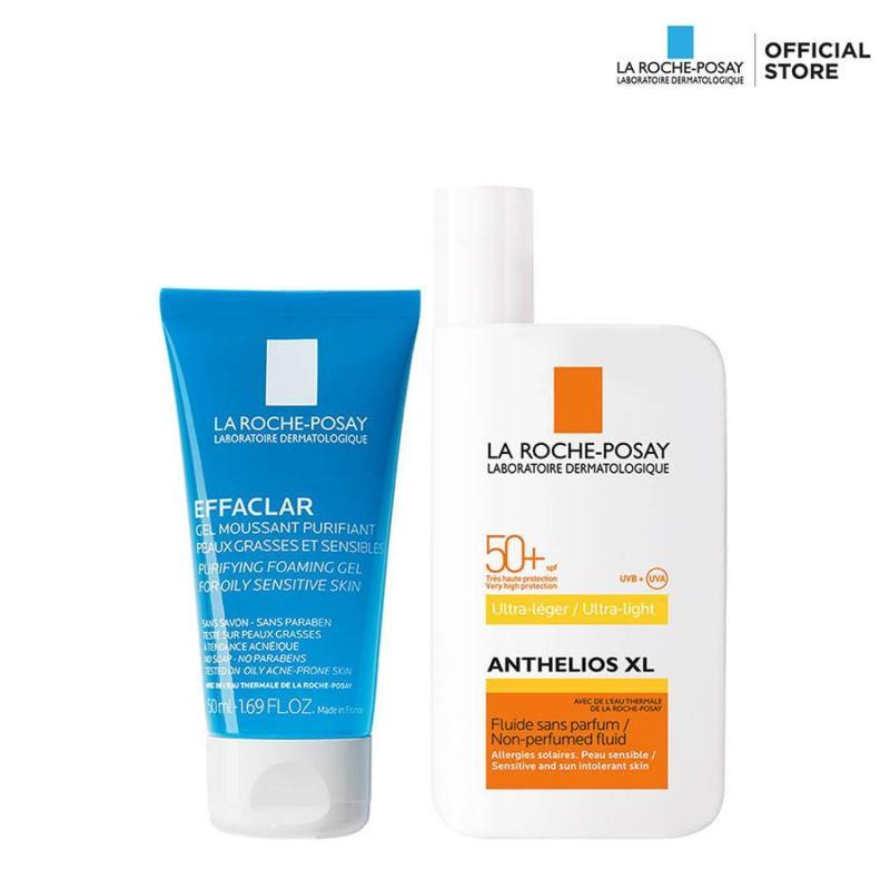 Bộ đôi dành cho da dầu nhạy cảm Kem chống nắng không gây nhờn rít La Roche Posay Anthelios Fluid SPF 50+ 50ML và Gel rửa mặt Effaclar Gel 50ML nhập khẩu