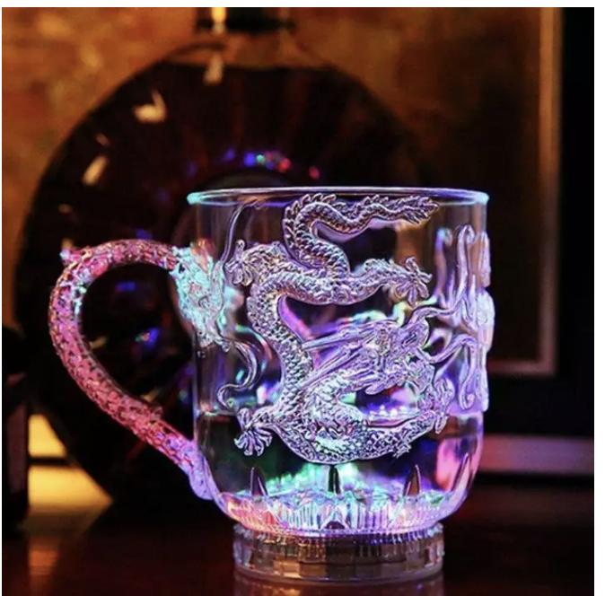 Hình ảnh Ly uống nước và bia đèn Led cảm ứng phát sáng hình rồng có tay cầm