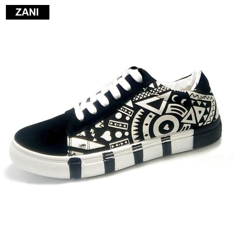 Mã Khuyến Mại Giay Sneaker Thời Trang Nam In Họa Tiết Zani Zn5662Bw Trắng Đen Trong Hà Nội