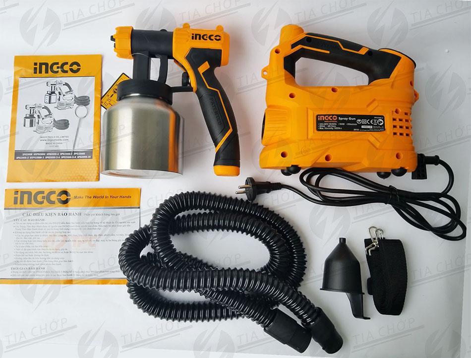 MÁY PHUN SƠN DÙNG ĐIỆN INGCO 500W SPG5008-2 ( Hộp chưa sơn chất liệu nhôm)