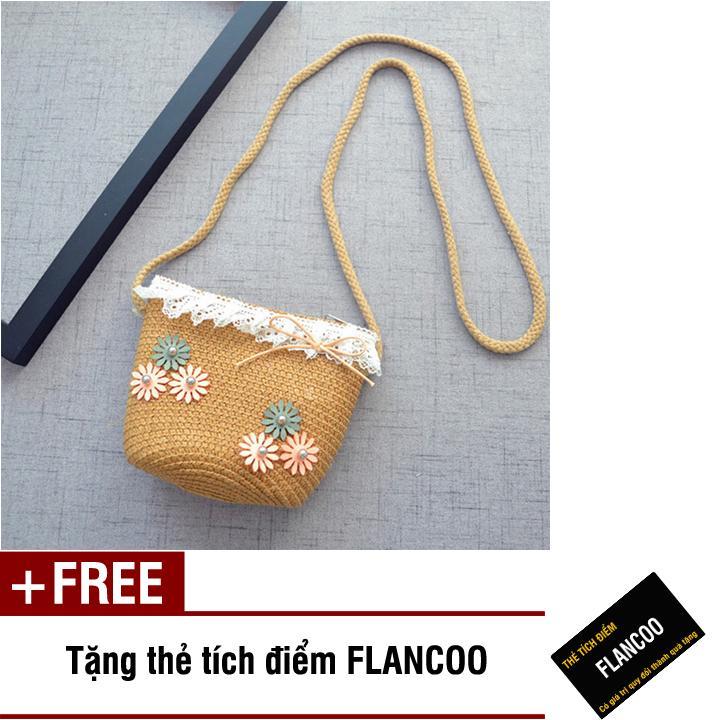 Túi đeo chéo bé gái chất liệu cói dễ thương Flancoo 0295 (Nâu) + Tặng kèm thẻ tích điểm Flancoo