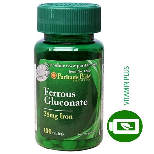 Viên uống bổ sung sắt giúp bổ máu, phòng ngừa thiếu máu Puritans Pride Ferrous Gluconate 28mg Iron 100 viên cao cấp