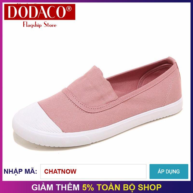 Giày lười vải nữ thời trang DODACO DDC1837 - (Hồng)