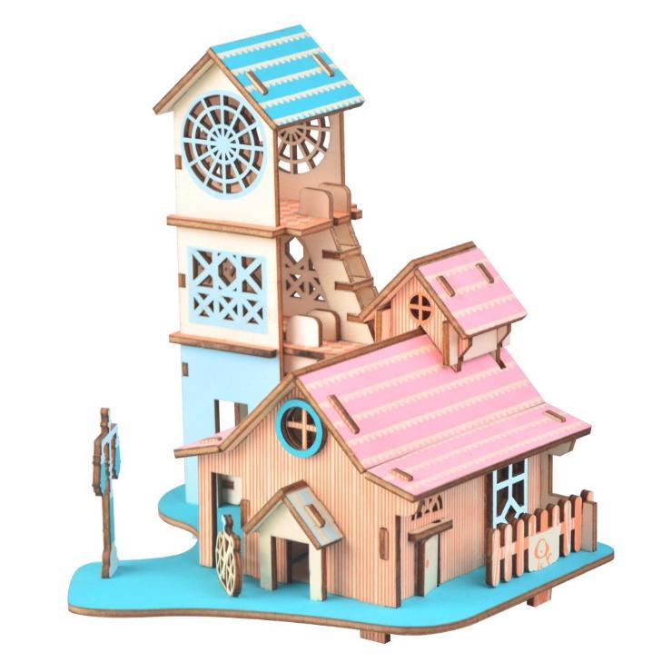 Hình ảnh Đồ chơi lắp ráp gỗ 3D Mô hình Reverside Villa Laser