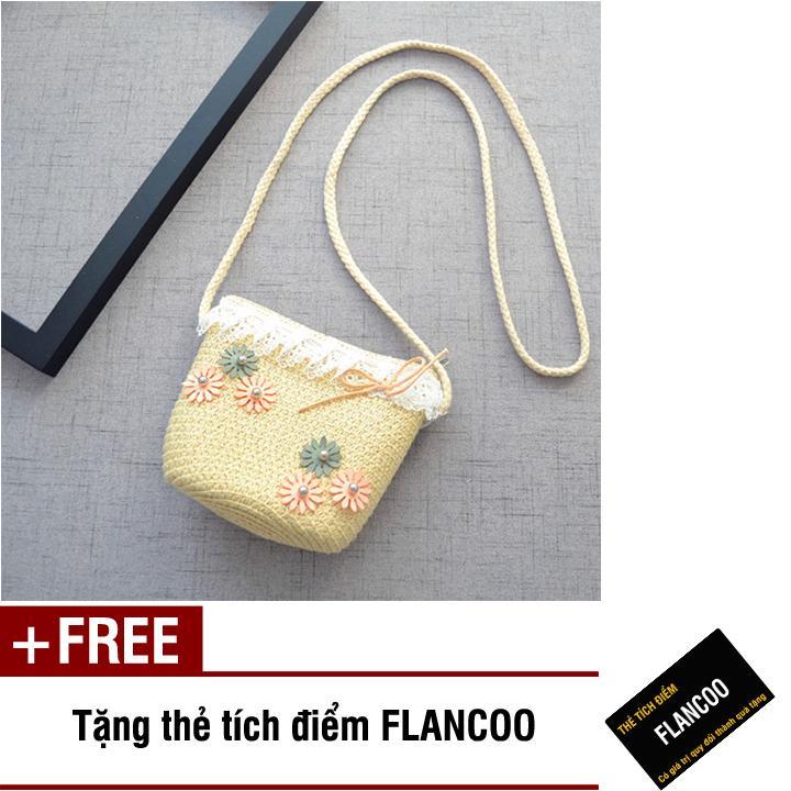 Giá bán Túi đeo chéo bé gái chất liệu cói dễ thương Flancoo 0293 (Kem) + Tặng kèm thẻ tích điểm Flancoo