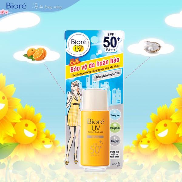 Sữa chống nắng kháng khuẩn trắng mịn ngọc trai Biore SPF50+, PA+++ 25ml