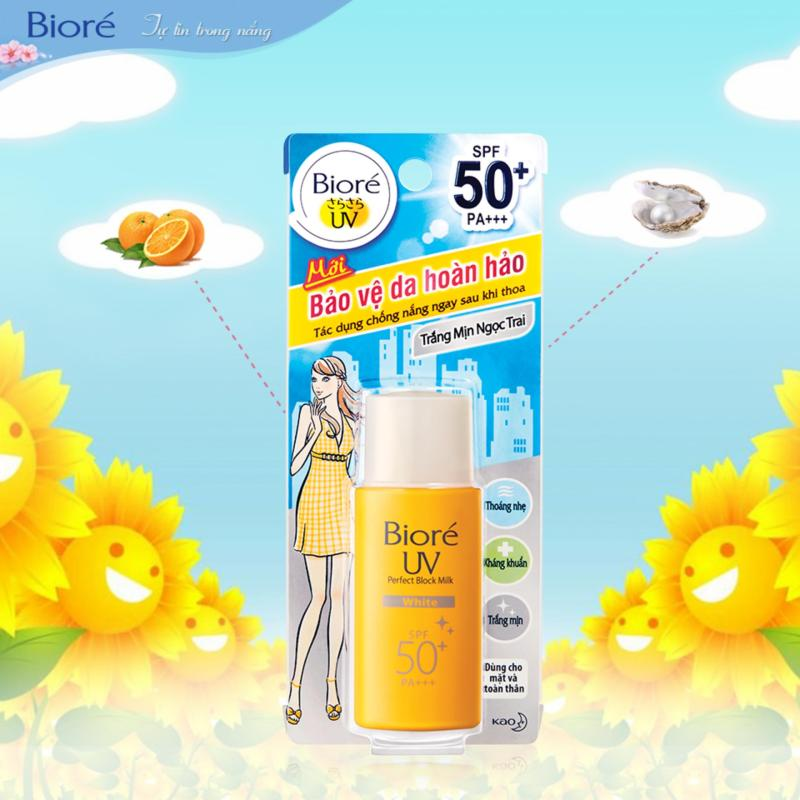 Sữa chống nắng kháng khuẩn trắng mịn ngọc trai Biore SPF50+, PA+++ 25ml nhập khẩu