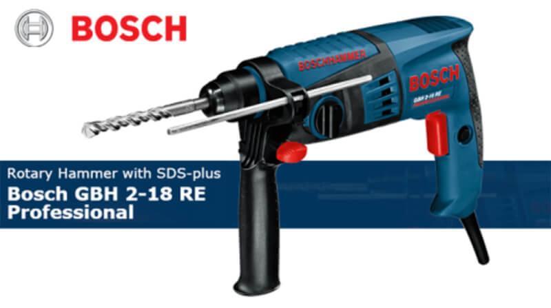 Máy khoan búa Bosch GBH 2-18 RE ( Tặng bộ mũi khoan tường SDS 6,8,10)