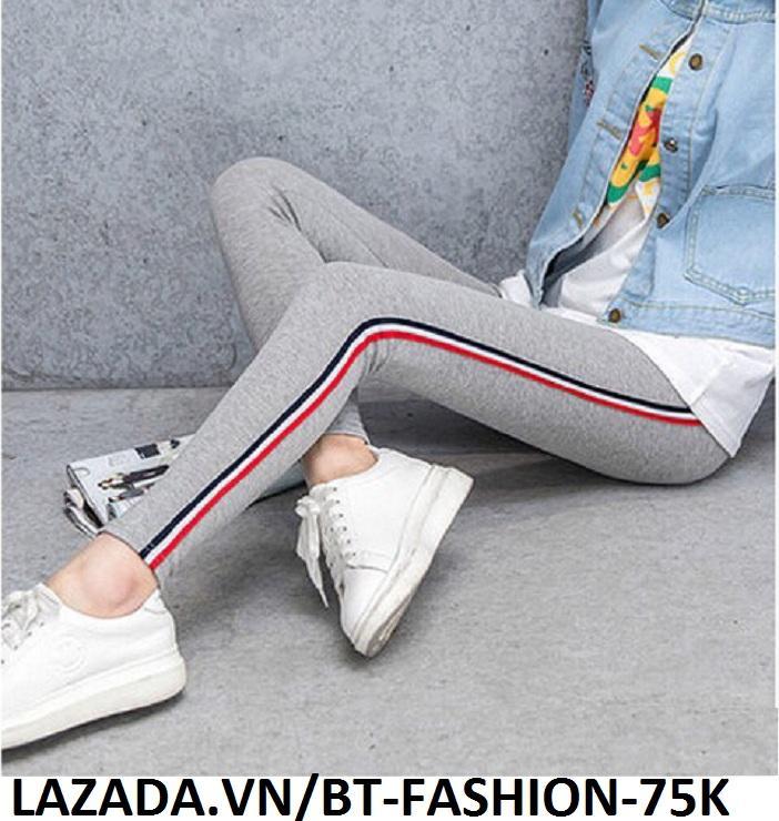 Quần Dài Nữ Thun Ôm Legging Thể Thao Thời Trang Hàn Quốc - BT Fashion (QTT-Viền 3M-03)
