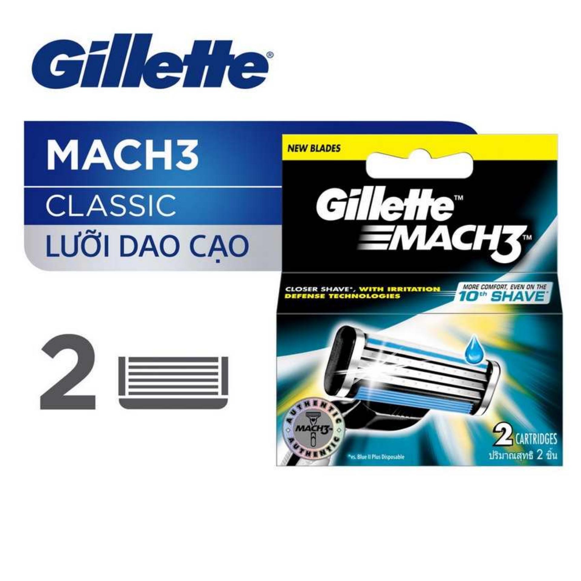 Lưỡi dao Gillette Mach3 vỉ 2 lưỡi - Classic vỉ 2s nhập khẩu