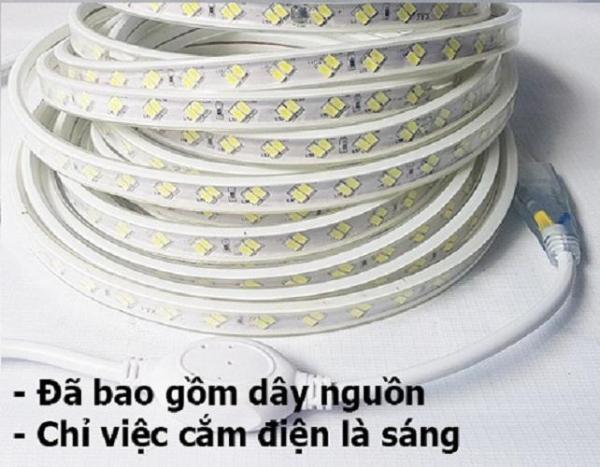 10m dây led 2 hàng bóng led 5730 siêu sáng ánh sáng trắng và 1 dây nguồn 220v