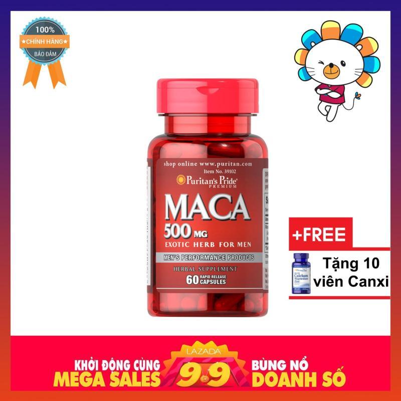 Viên uống tăng cường sinh lực Puritans Pride Primium Maca Exotic Herb For Men 500mg 60 viên nhập khẩu