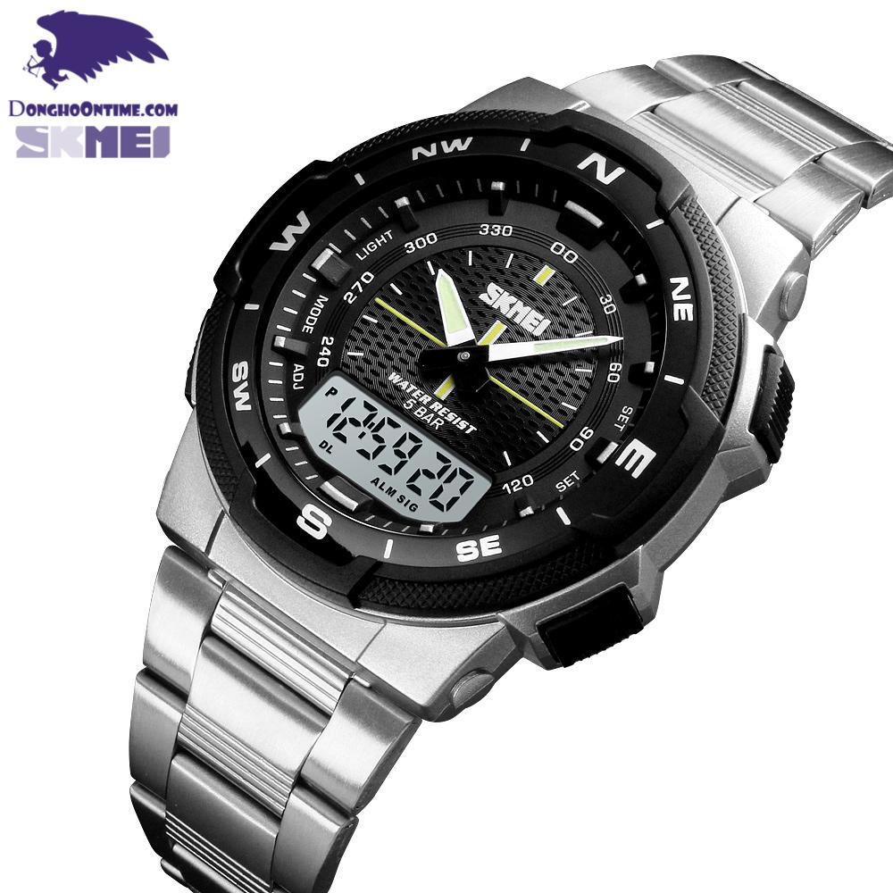 Nơi bán Đồng hồ nam dây thép không gỉ thể thao Skmei 1370 nam tính (Silver & Black)