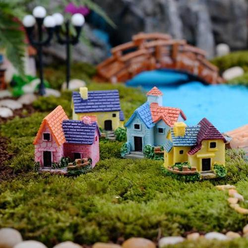 Hình ảnh Phụ kiện tiểu cảnh - nhà biệt thự trang trí terrarium, sen đá, xương rồng