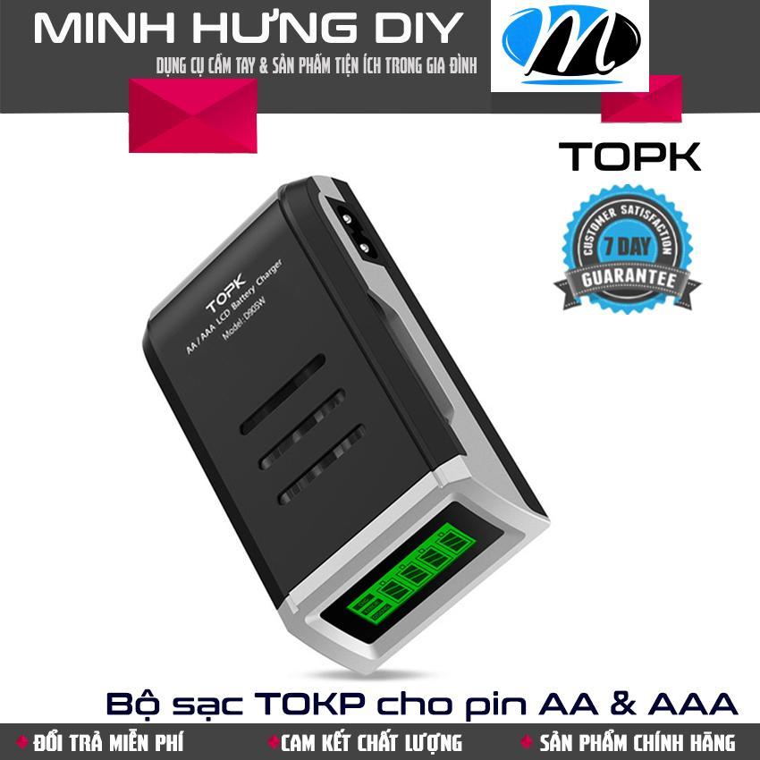 Bộ sạc pin đa năng hiệu TOPK sử dụng cho pin sạc cỡ AA hoặc AAA, tự ngắt khi đầy sạc an toàn chống cháy nổ