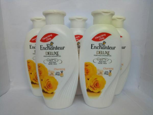 Combo 5 chai Sữa Tắm Trắng Và Dưỡng Ẩm có hạt Enchanteur Deluxe 150g + Tặng 1 chai nước hoa cùng loại 18ml