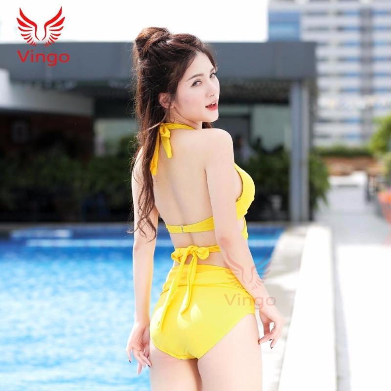 Nơi bán Đồ bơi nữ, bikini 2 mảnh dây chéo màu vàng kèm khăn choàng Vingo