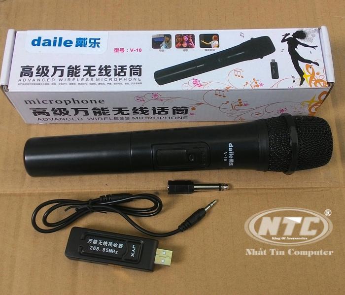 Mua Micro Karaoke Khong Day Daile V10 Đen Hỗ Trợ Cac Thiết Bị Co Jack Cắm 3 5Mm Va 6 5Mm Daile
