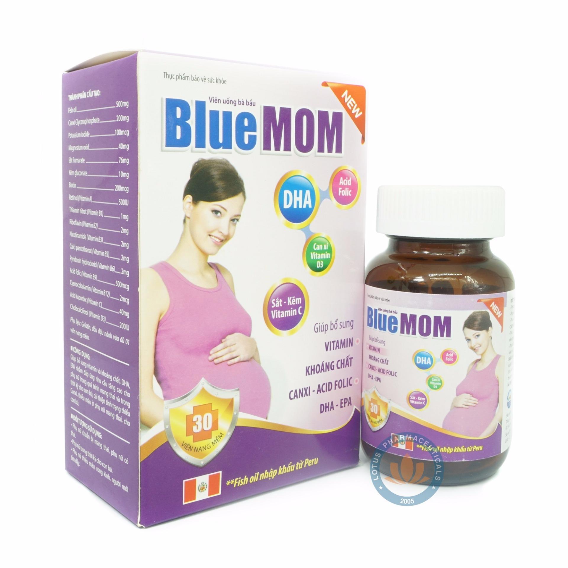 Viên Uống Dinh Dưỡng Bà Bầu Blue Mom Medistar Hộp 30 Viên Nang